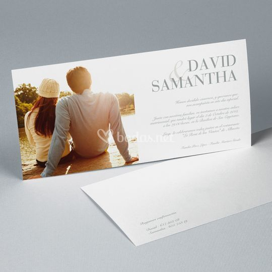 Tarjetón de boda romántico