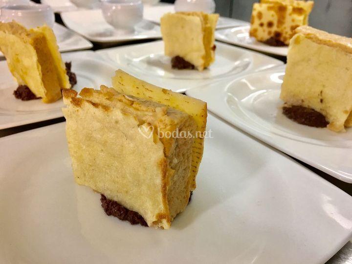 Pastel centolla y pan karasatu