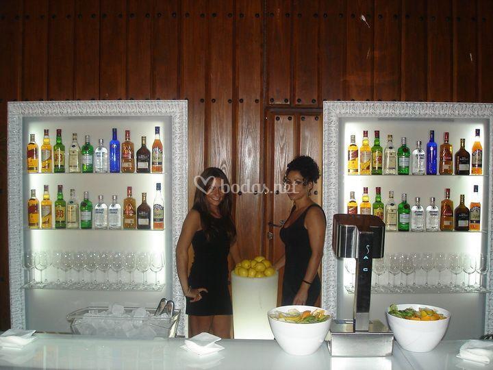 Botelleros blancos con leds