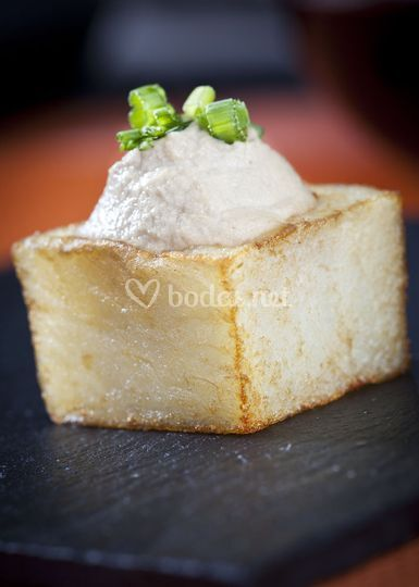 Patata confitada con boletus