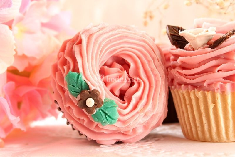 Jabones cupcakes flor