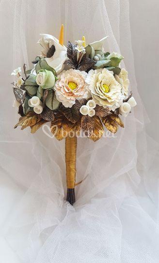 Ramo de novia de flores de porcelana