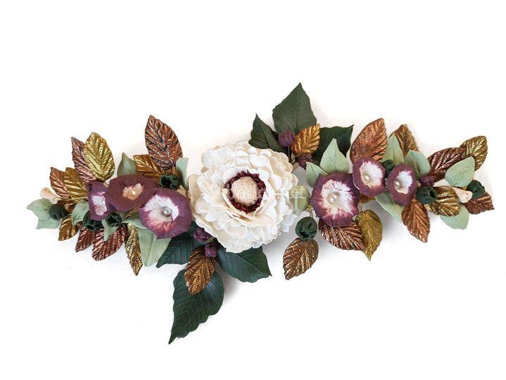 Tiara flores de porcelana