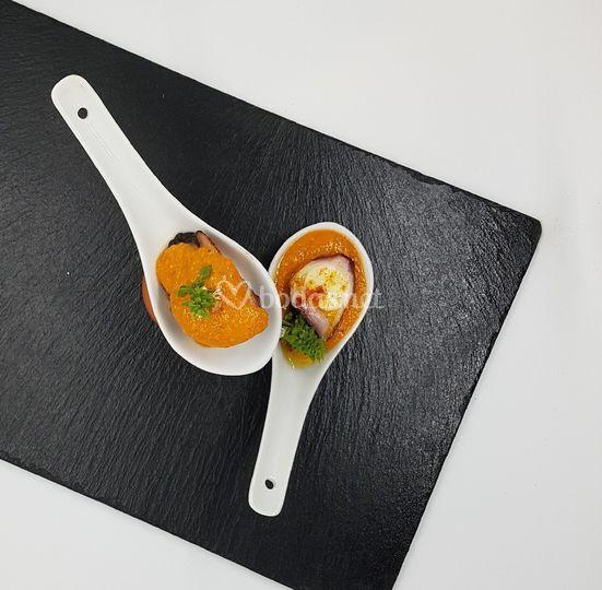 Pulpo con salsa romesco