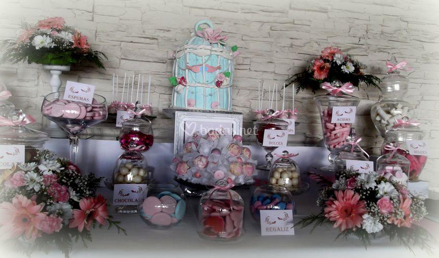 Candy bar azul y rosa
