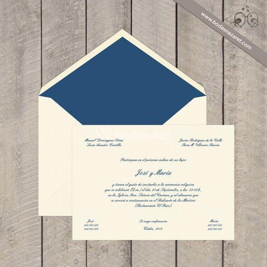 171 Invitación clásica azul