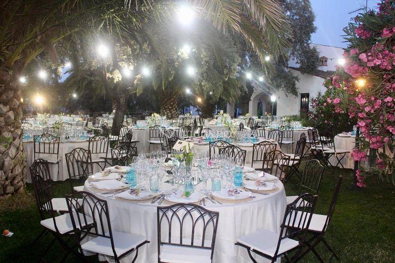Cena patio iluminado