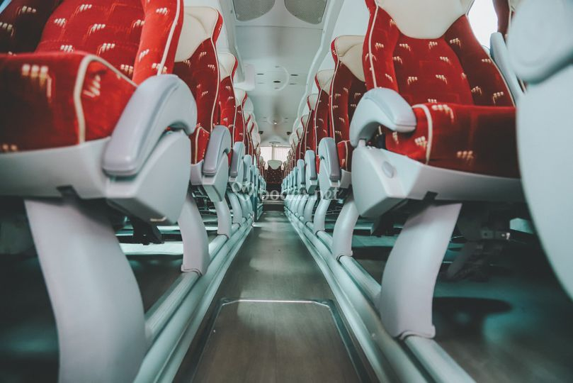 Interior de uno de los buses