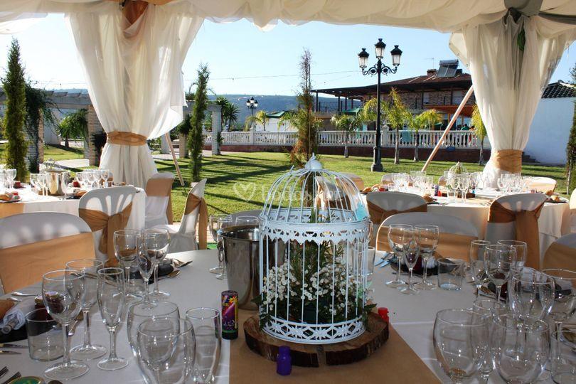 Vistas mesa, jardín y casa