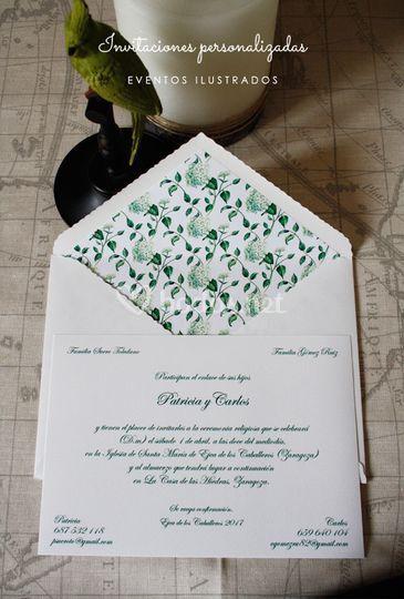 Invitación clásica hortensias