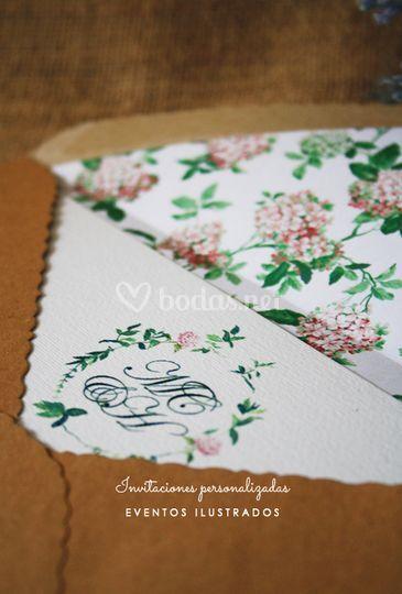 Hortensias rosas y kraft