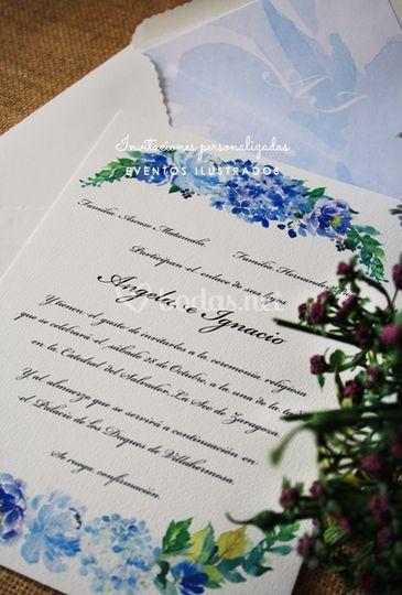 Invitación bodegón hortensias