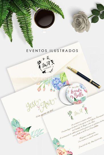 Invitación+obsequio a juego de Eventos Ilustrados