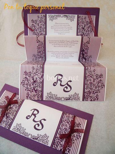 Invitación tonos violetas