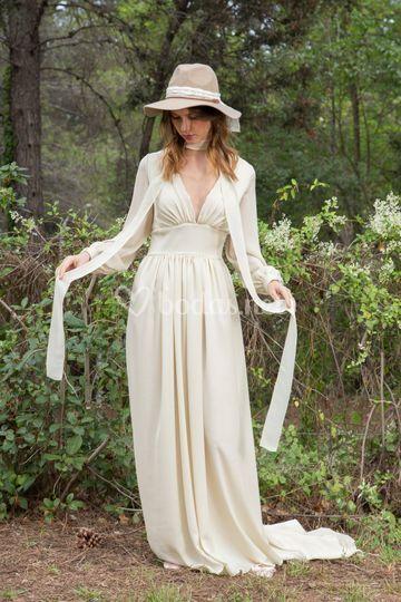 Vestido de novia crep seda