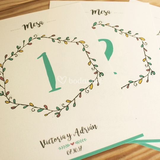 Números de mesa impresos