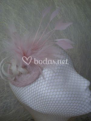 Tocado rosa palo