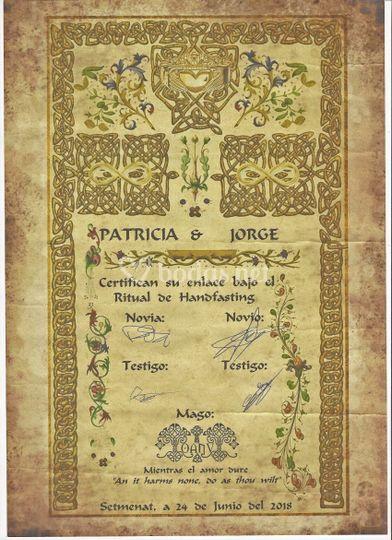 Certificado de bodas