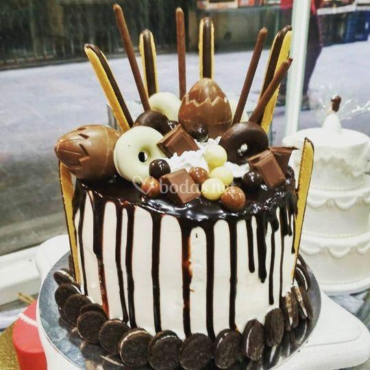 Tarta con chocolate