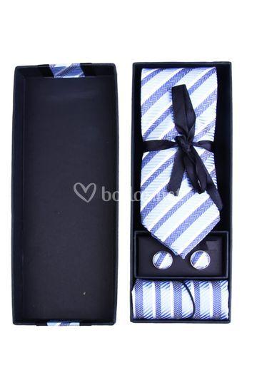 Set corbata+gemelos y pañuelo