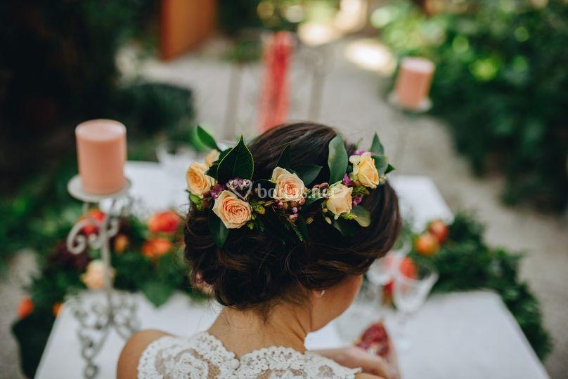 Corona con flores naturales