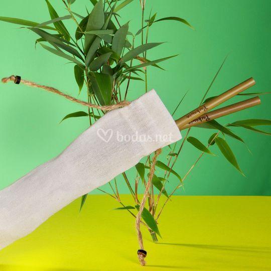 Pajitas de bambú personalizada