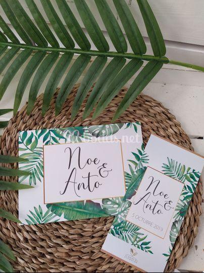 Invitación + Minuta tropical