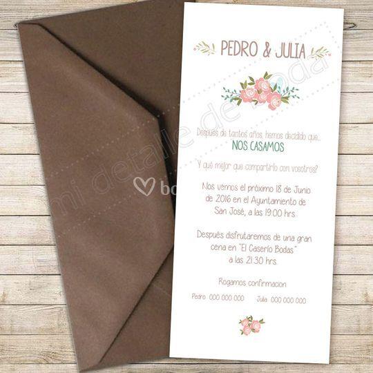 Invitacion 9x20cm Floral
