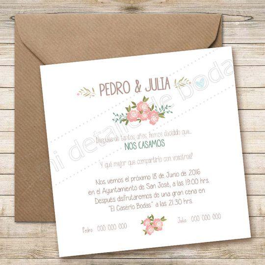 Invitación 14x14cm Floral