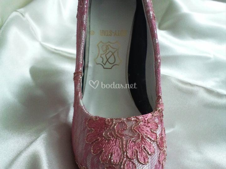 Zapatos en raso y encaje