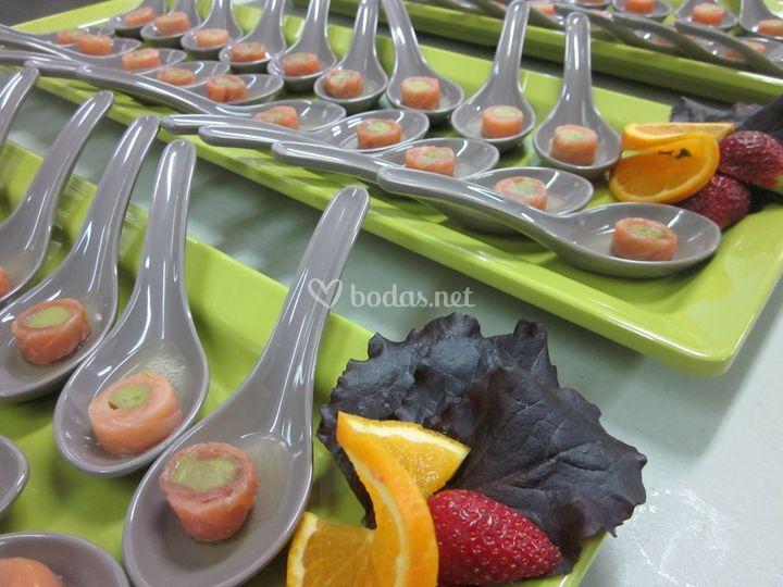 Cucharita de salmón ahumado