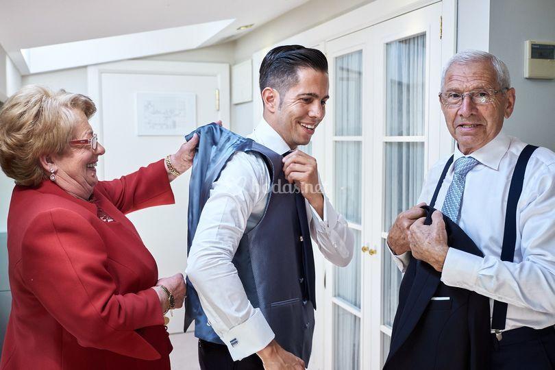 Borja con sus padres