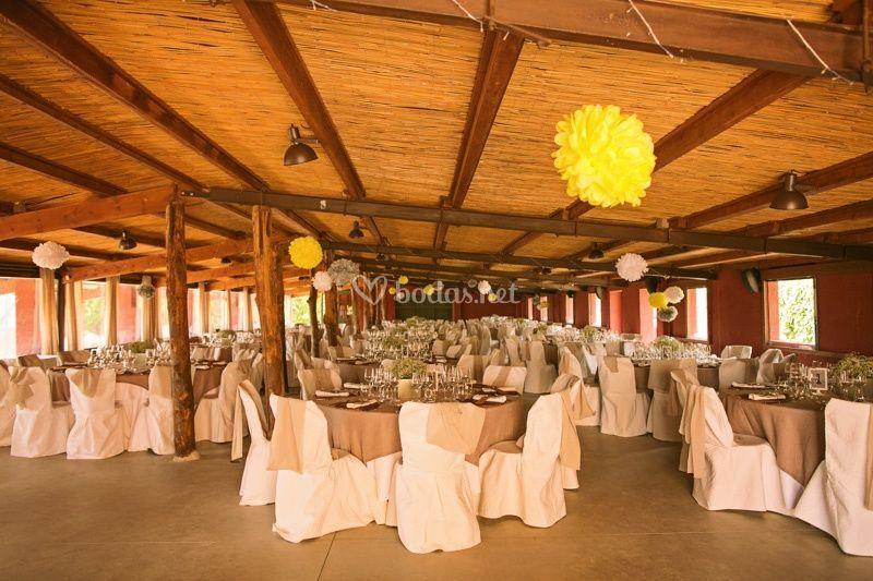 Montaje de salón con pompones