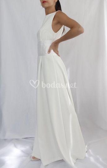 Vestido de novia crepe + fajin