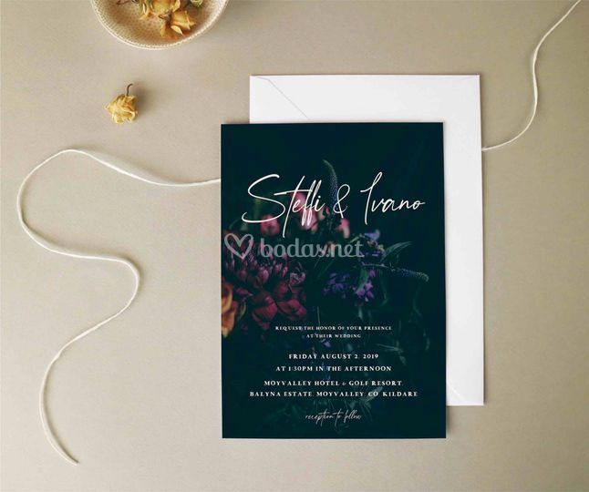 Invitación Flores Oscuras