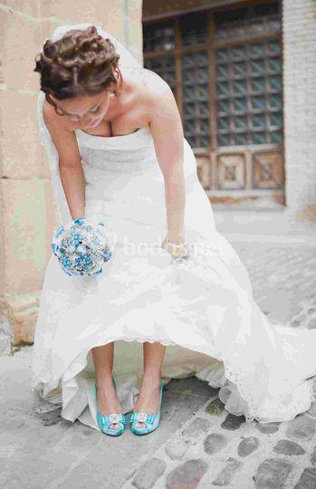 Ramo azul para novia