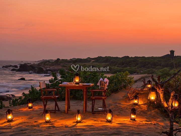 Cena romántica en Sri Lanka