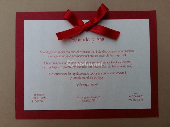 Invitación lazo rojo