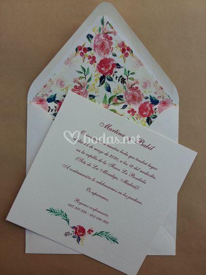 Invitación acuarela rosas