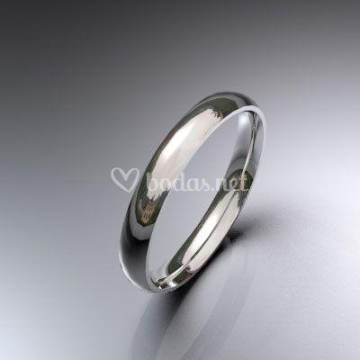 Alianza de boda de oro blanco de 18 K de media caña de 3 mm