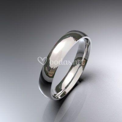 Alianza de boda de oro blanco de 18 K de media caña de 3,50 mm