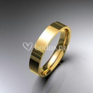 Alianzas de boda oro amarillo brillo planas en 4 mm