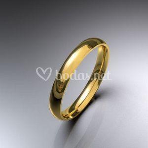 Alianzas de boda oro amarillo media caña 3 mm