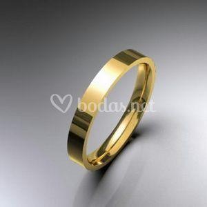 Alianzas de boda oro amarillo planas 3,5 mm