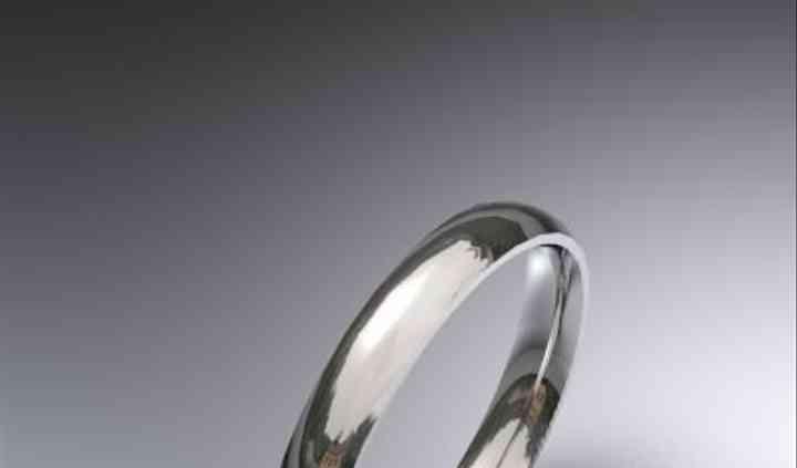 Alianza de boda oro blanco 18 K media caña 3 mm