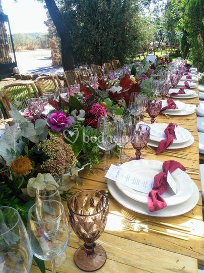 Centros mesa larga boda