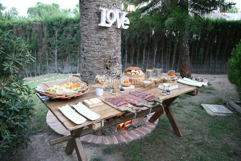 Mesa de embutidos y quesos