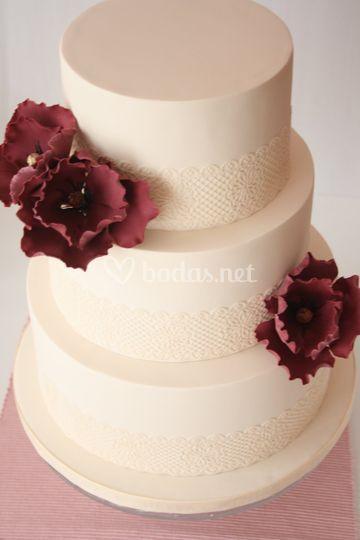 Tarta de boda encaje