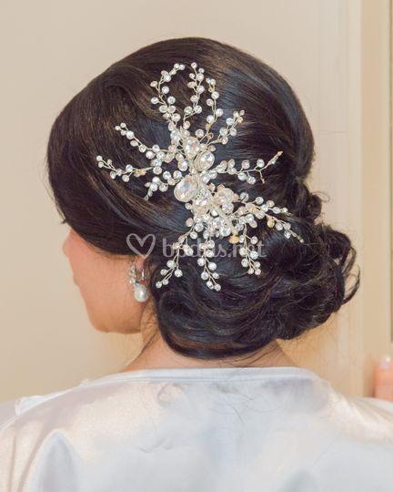 Peinado novia con brillantes