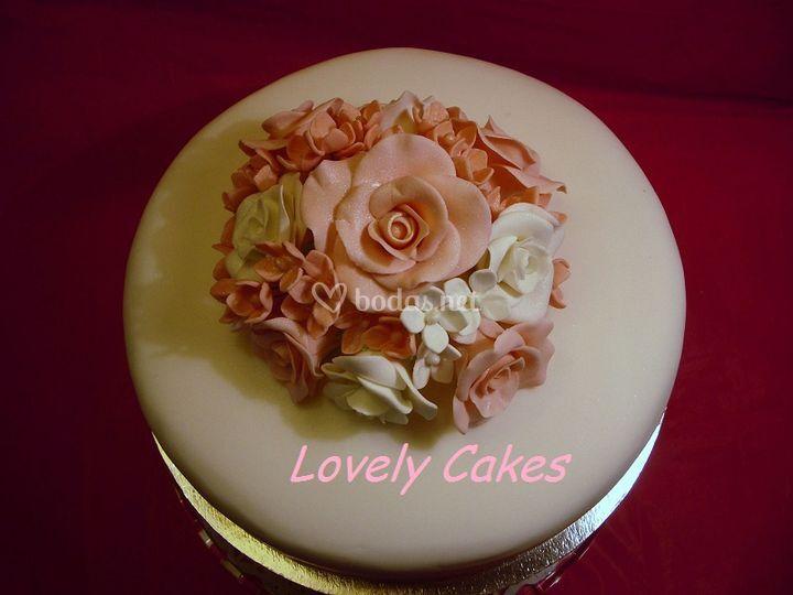 Tarta bouquet rosas